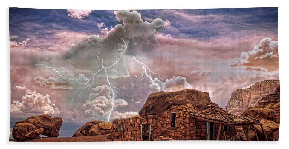 Rock House Bath Sheet featuring the photograph Southwest Navajo Rock House And Lightning Strikes Hdr by James BO Insogna