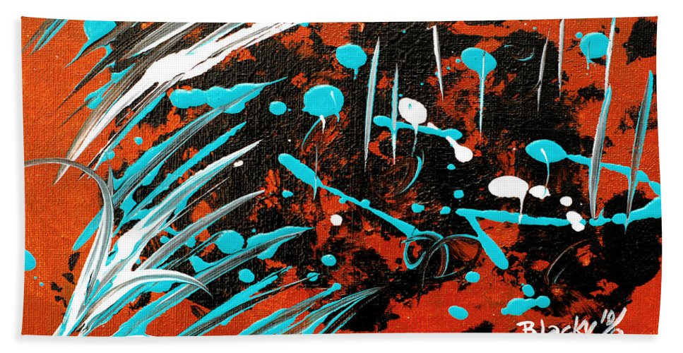 Bold Abstract Hand Towel featuring the painting Southwest Rain by Donna Blackhall