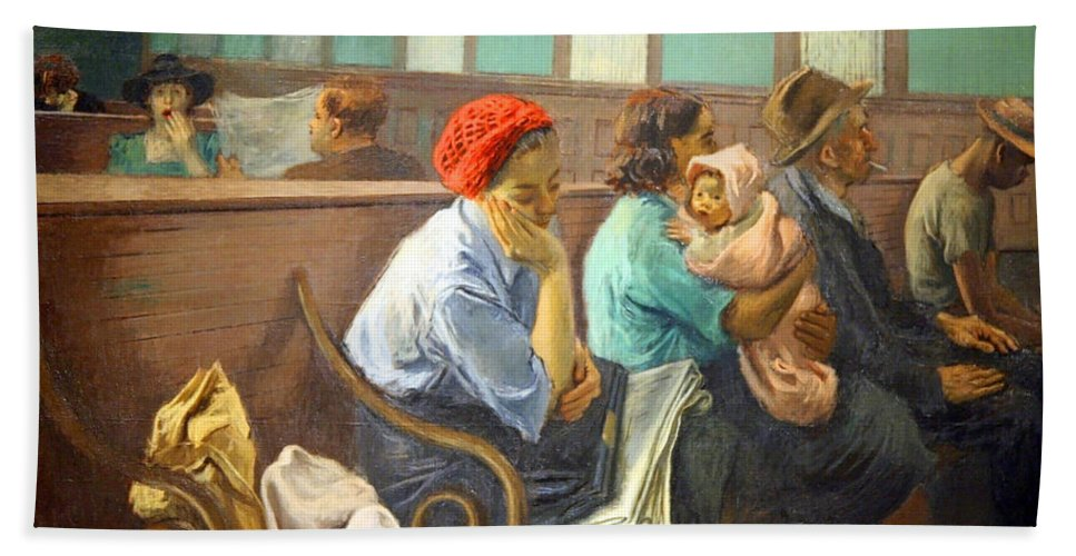 A Railroad Station Waiting Room Bath Sheet featuring the photograph Soyer's A Railroad Station Waiting Room by Cora Wandel