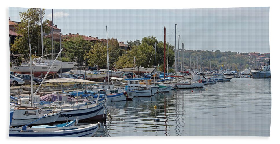 Sozopol Harbour Hand Towel featuring the photograph Sozopol Harbour Bulgaria. by Tony Murtagh