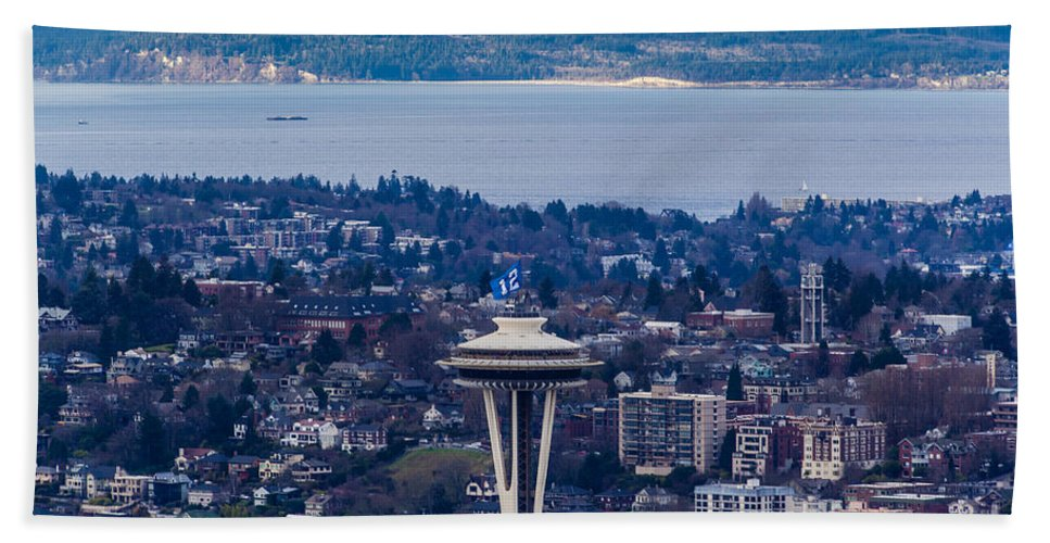 Elliott Bay Bath Sheet featuring the photograph Space Needle 12th Man Seahawks by Mike Reid