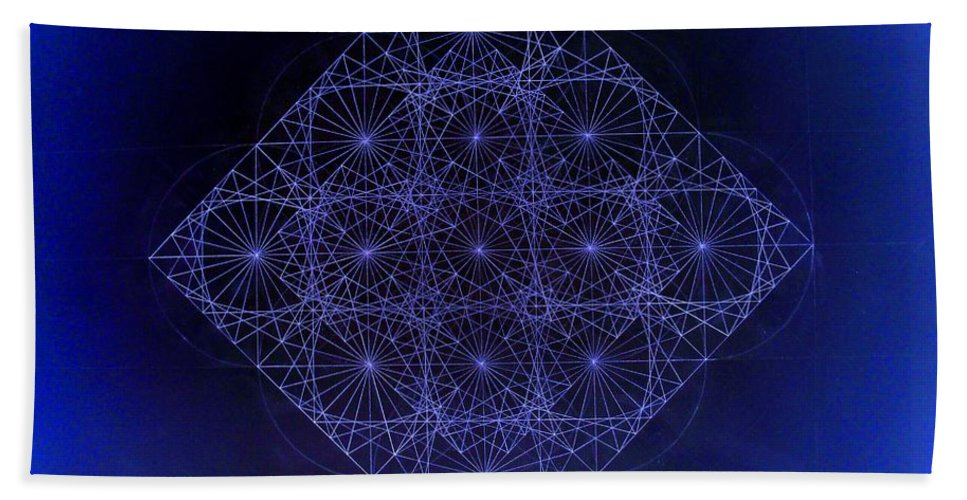 Fractal Bath Sheet featuring the drawing Space Time Sine Cosine And Tangent Waves by Jason Padgett
