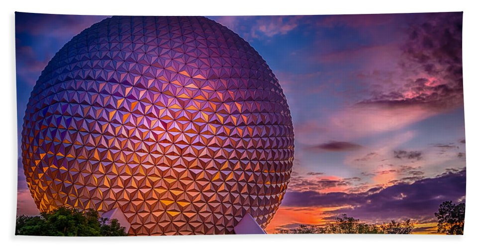 Attraction Hand Towel featuring the photograph Spaceship Earth Glow by Gareth Burge Photography