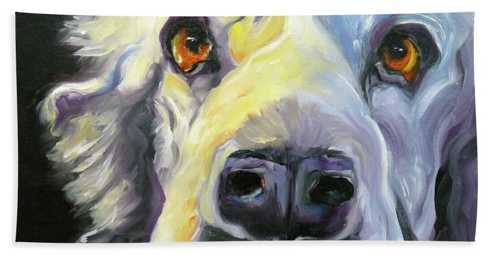 Dogs Bath Sheet featuring the painting Spaniel In Thought by Susan A Becker