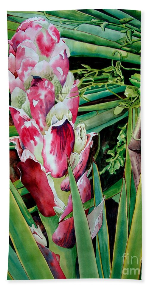 Floral Painting Bath Towel featuring the painting Spanish Dagger IIi by Kandyce Waltensperger