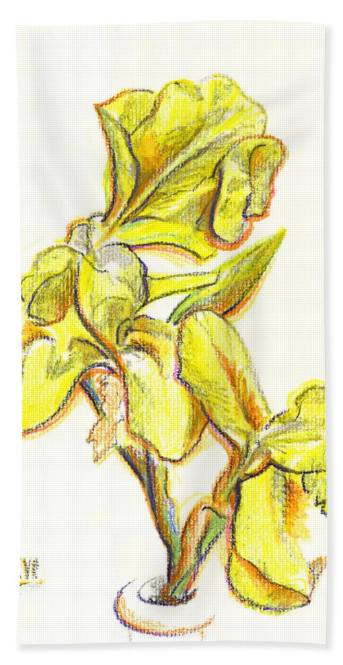 Spanish Irises Bath Towel featuring the painting Spanish Irises by Kip DeVore