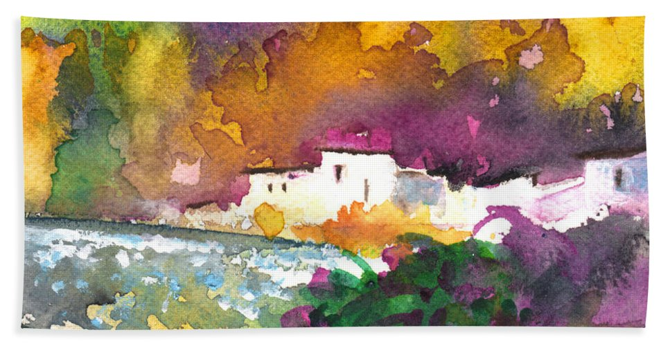 Travel Hand Towel featuring the painting Spanish Village By The River 02 by Miki De Goodaboom
