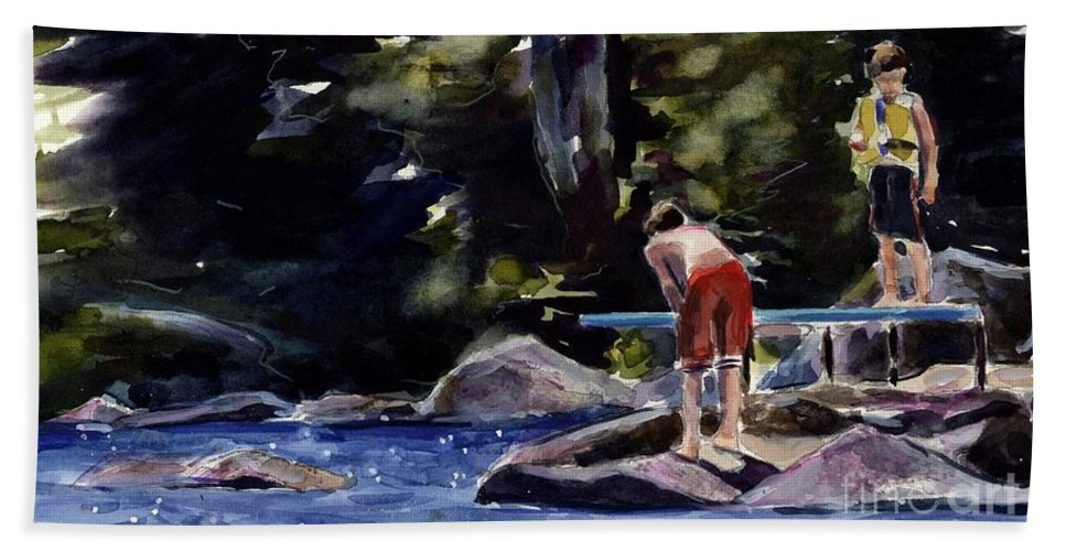 Lake Hand Towel featuring the painting Sparkle Lake by Molly Poole