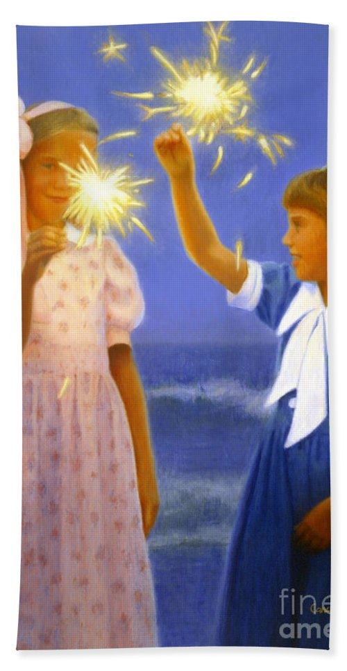 Girls Bath Sheet featuring the painting Sparkler Duet by Candace Lovely