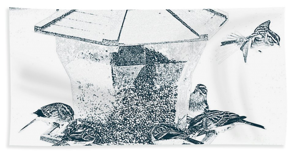 Sparrow Bath Sheet featuring the photograph Sparrows In Charcoal by Karin Everhart
