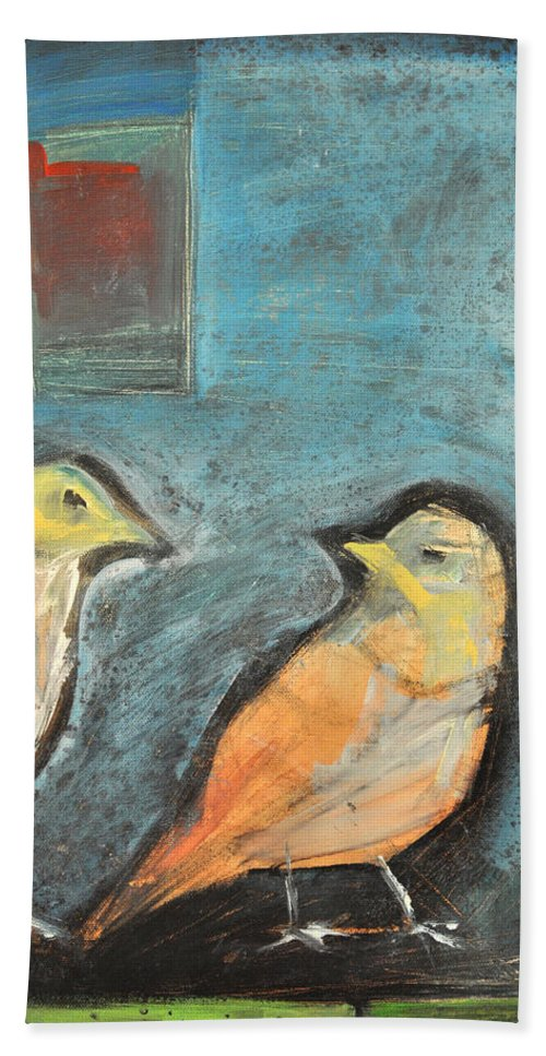 Birds Bath Sheet featuring the painting Sparrows by Tim Nyberg