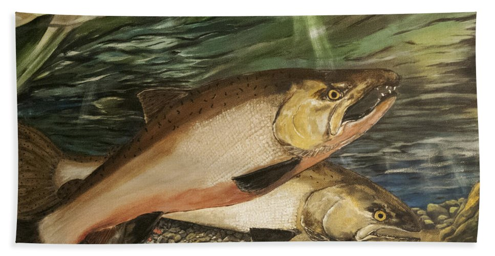 Spawning Hand Towel featuring the painting Spawning Salmon by Sara Stevenson