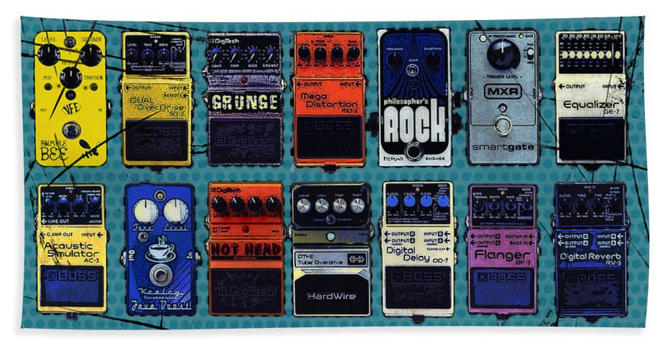 Guitar Bath Towel featuring the mixed media Special Effects by Russell Pierce