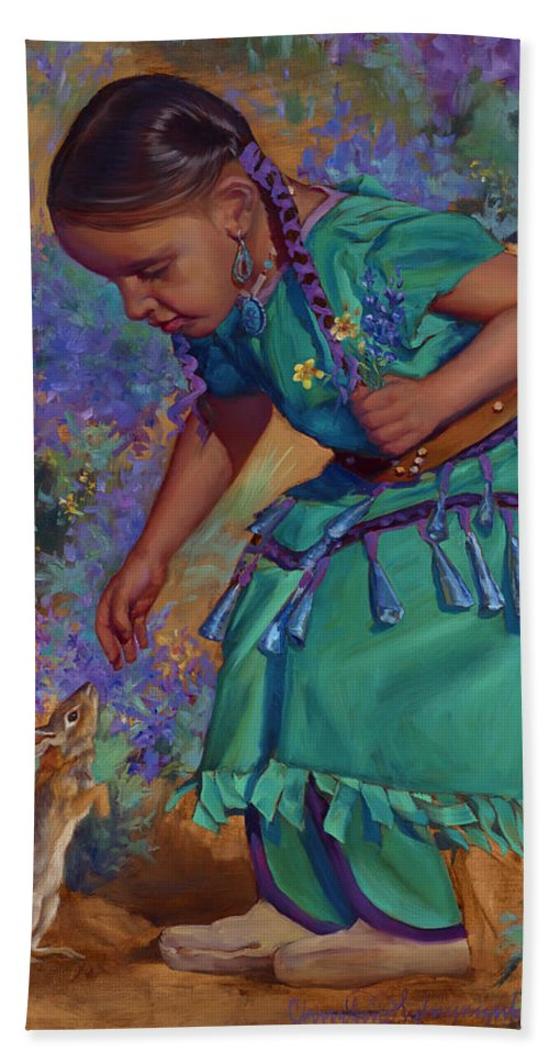 Native American Hand Towel featuring the painting Special Encounter by Christine Lytwynczuk