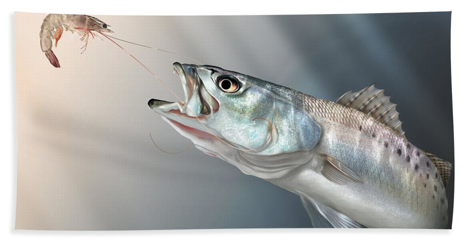 Shrimp Bath Towel featuring the painting Speck Snack by Hayden Hammond