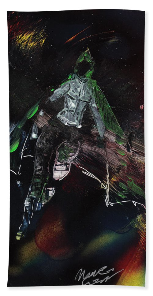 Comic Book Superheroes Bath Sheet featuring the painting Specter by Michael Cicirelli