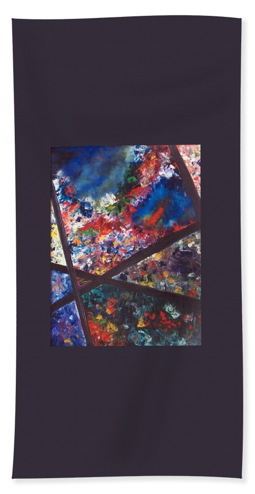 Abstract Bath Towel featuring the painting Spectral Chaos by Micah Guenther