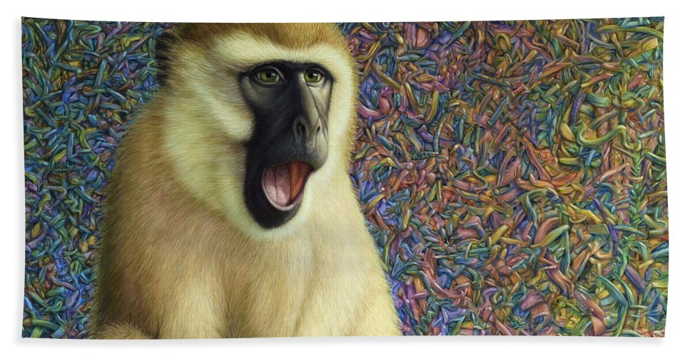Monkey Hand Towel featuring the painting Speechless by James W Johnson