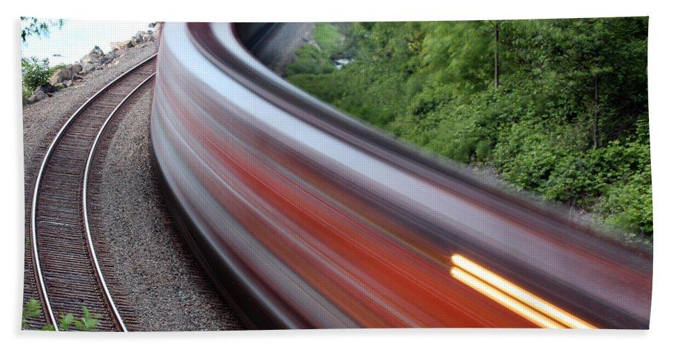 Blur Hand Towel featuring the photograph Speeding Train by Paul Fell