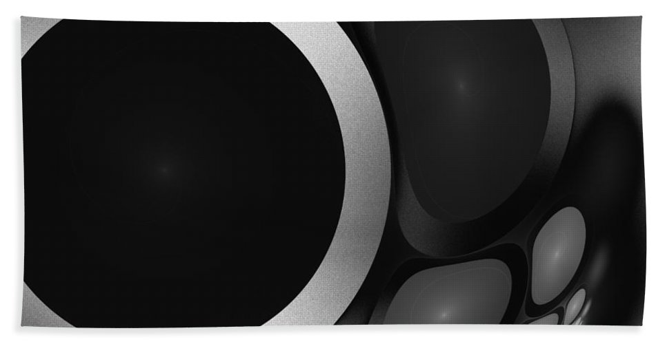 Digital Art Sphere 10 Grey Gray Black White Fractal Expressionism Impressionism Hand Towel featuring the painting Sphere 10 by Steve K