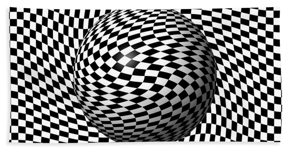 Pinch Hand Towel featuring the digital art Sphere Abstract Pinch by Henrik Lehnerer