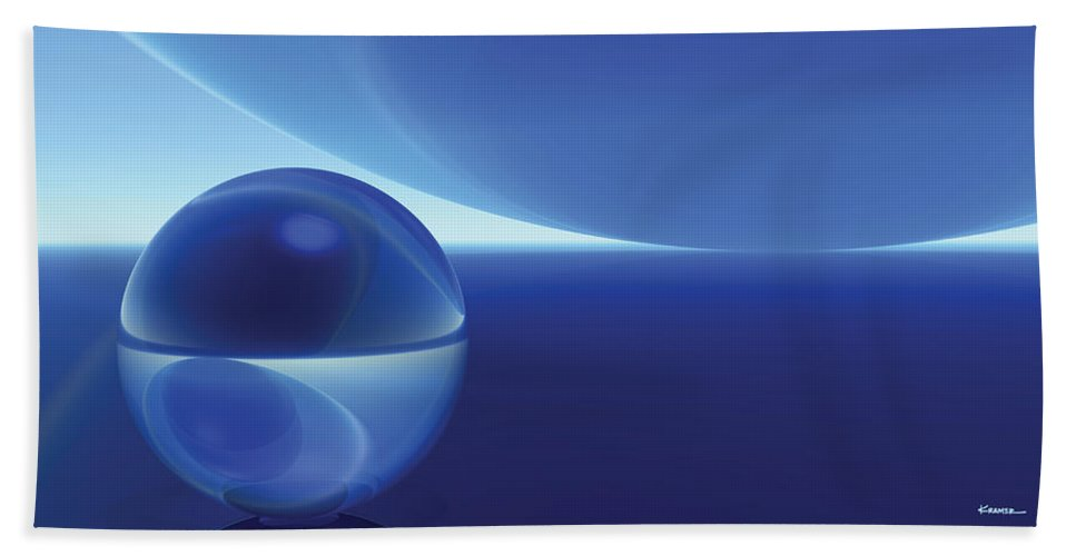 Abstract Bath Sheet featuring the digital art Spheres, No. 9 by James Kramer
