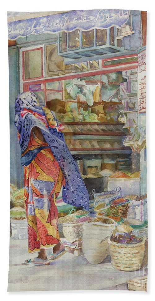 Saudi Arabia Bath Sheet featuring the painting Spice Shop by Dorothy Boyer