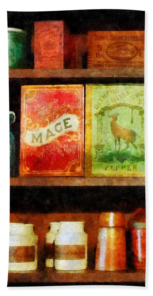 Spice Hand Towel featuring the photograph Spices On Shelf by Susan Savad