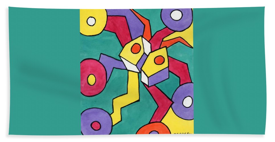 Abstract Bath Sheet featuring the painting Spider On Wheels by Barb Meade