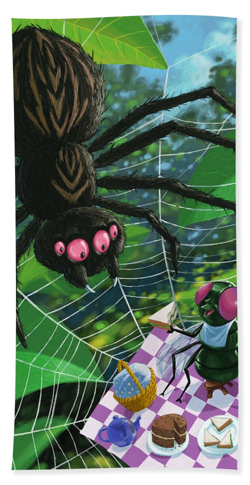 Picnic Bath Towel featuring the painting Spider Picnic by Martin Davey