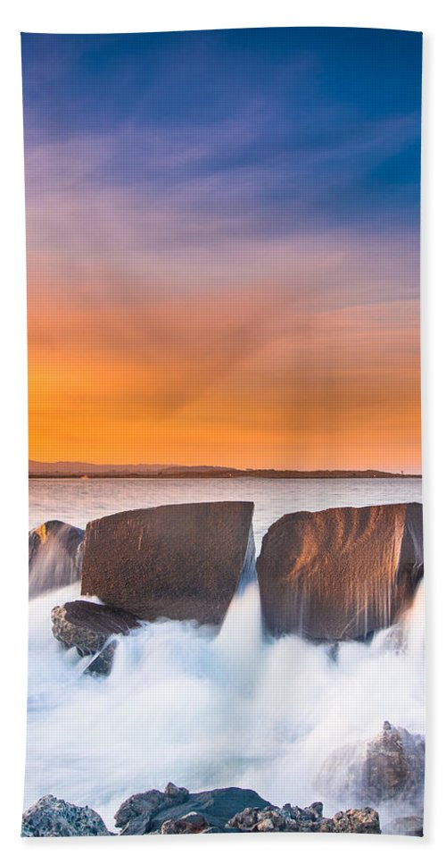Humboldt Bay Hand Towel featuring the photograph Spill Over by Greg Nyquist