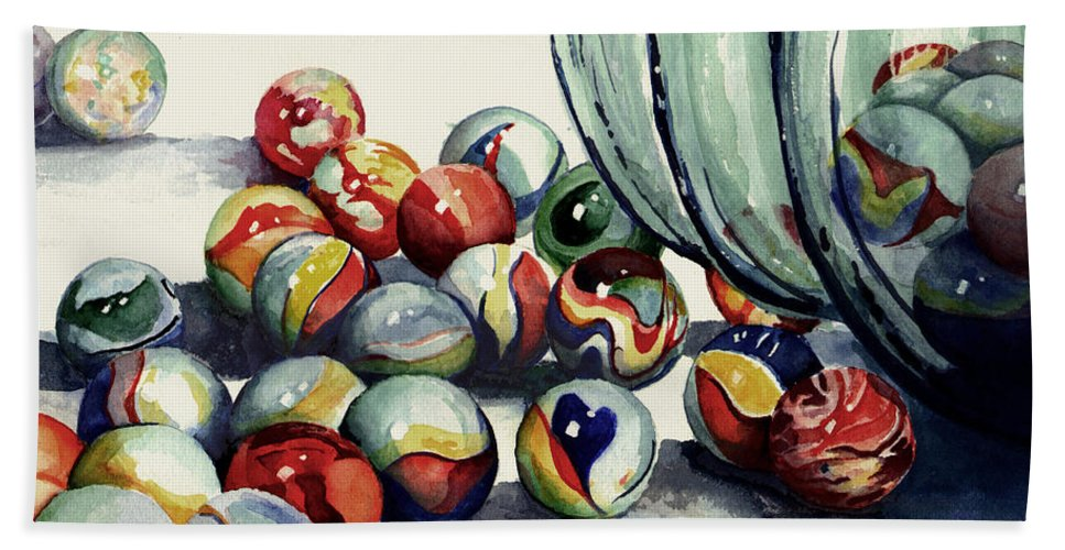 Marble Bath Sheet featuring the painting Spilled Marbles by Sam Sidders
