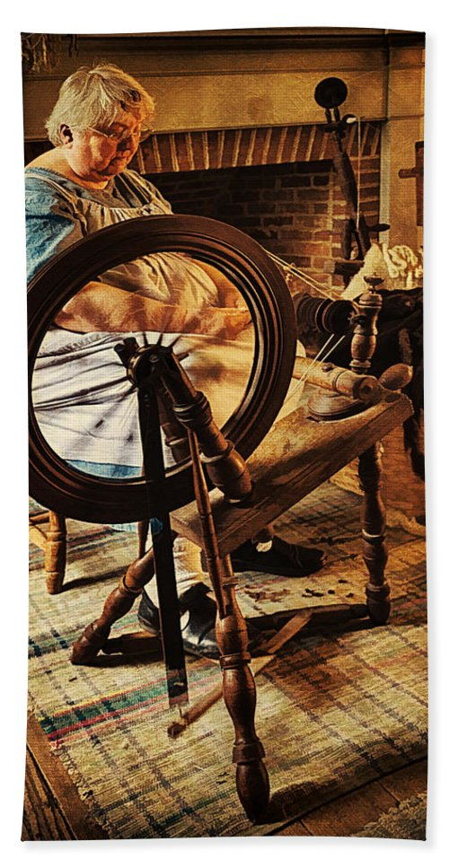 Spinning Wheel Bath Sheet featuring the photograph Spinnin' Spinster by Priscilla Burgers