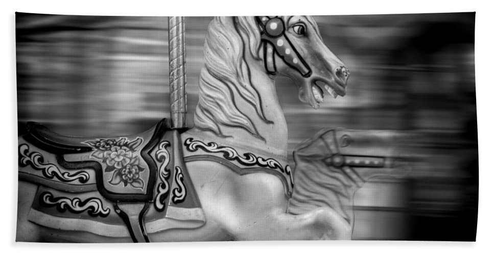 Carousel Hand Towel featuring the photograph Spinning Horses by Ricky Barnard
