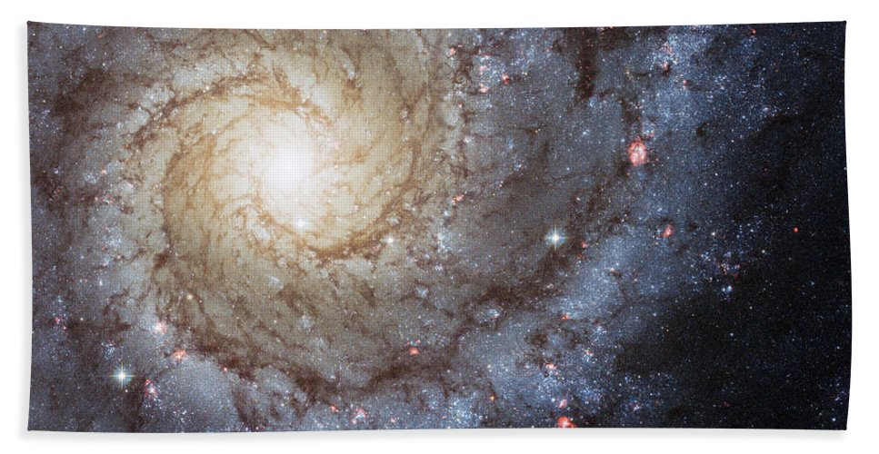 3scape Bath Towel featuring the photograph Spiral Galaxy M74 by Adam Romanowicz