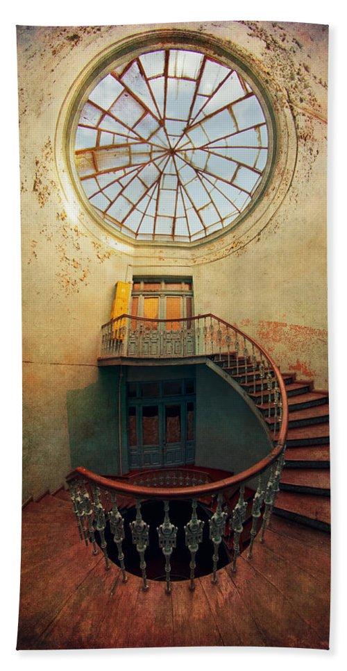 Wide Angle Bath Towel Featuring The Photograph Spiral Staircase And Big  Round Window By Jaroslaw Blaminsky