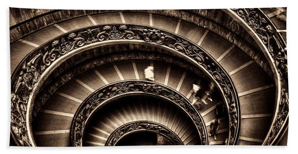 Spiral Staircase Hand Towel featuring the photograph Spiral Staircase No1 Sepia by Weston Westmoreland
