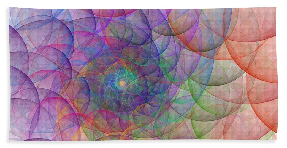 Digital Art Spirale Fractal Fractals Abstract Color Colorful Expressionism Impressionism Hand Towel featuring the painting Spirale by Steve K