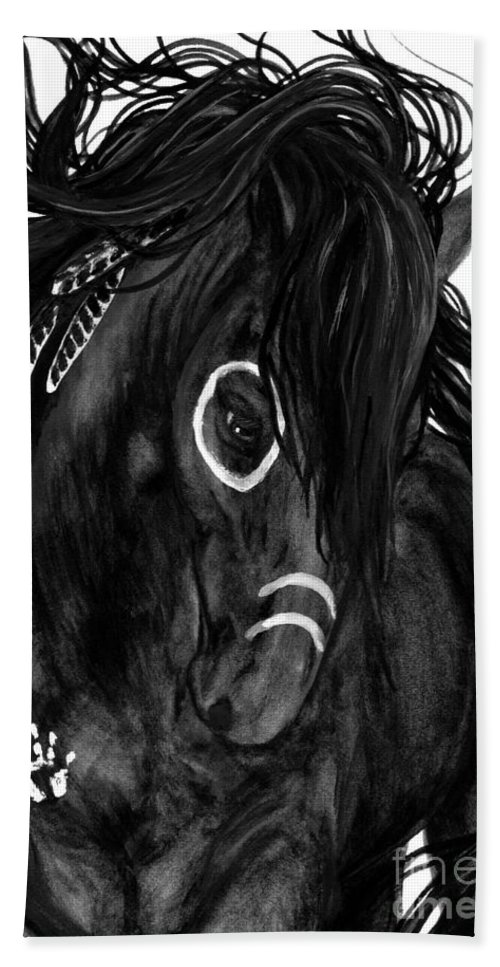 Majestic Bath Sheet featuring the painting Spirit Feathers Horse by AmyLyn Bihrle