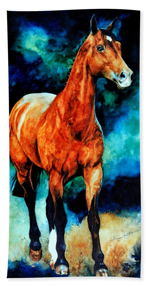 Horse Paintings Hand Towel featuring the painting Spirit Horse by Hanne Lore Koehler