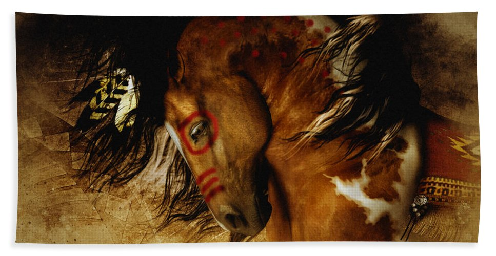 Spirit Horse Bath Towel featuring the digital art Spirit Horse by Shanina Conway