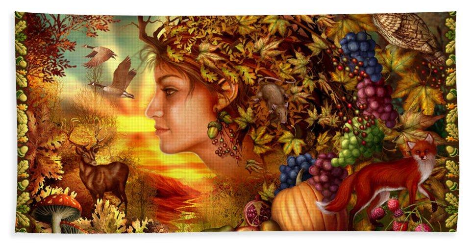 Fantasy Bath Sheet featuring the digital art Spirit Of Autumn by Ciro Marchetti