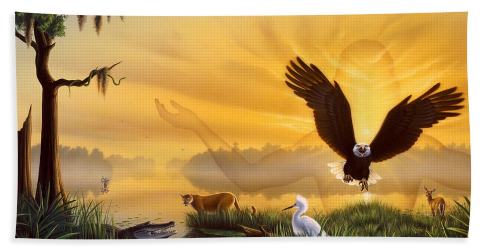 Eagle Bath Sheet featuring the painting Spirit Of The Everglades by Jerry LoFaro