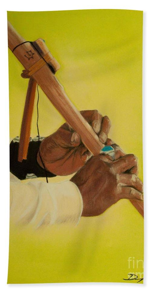 Hands Bath Sheet featuring the painting Spirit Whisperer by Dana Kern