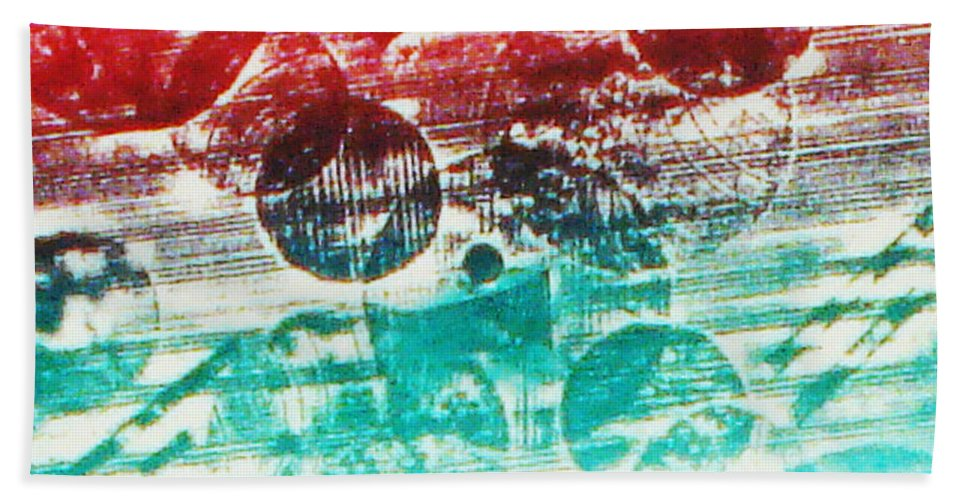 Print Making Abstract Bath Sheet featuring the relief Spirtuality Of The Planet by Yael VanGruber