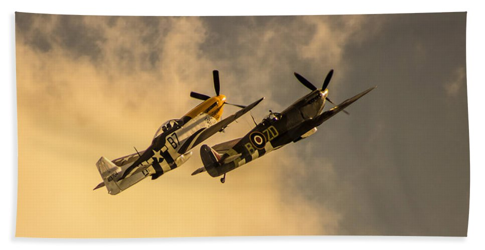 Duxford Bath Towel featuring the photograph Spitfire by Martin Newman