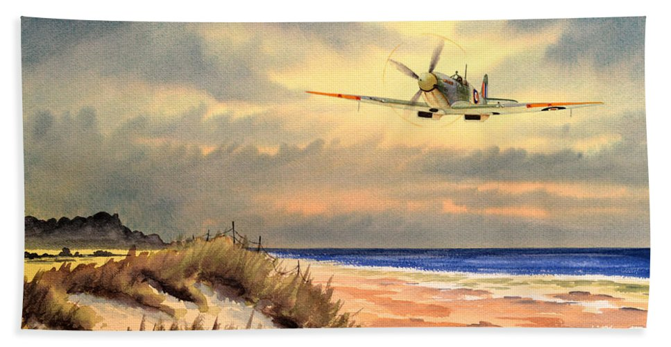Aircraft Bath Sheet featuring the painting Spitfire Mk9 - Over South Coast England by Bill Holkham