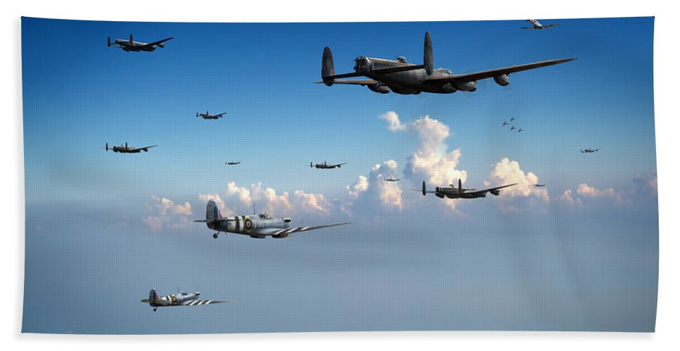 Spitfires Bath Sheet featuring the photograph Spitfires Escorting Lancasters by Gary Eason