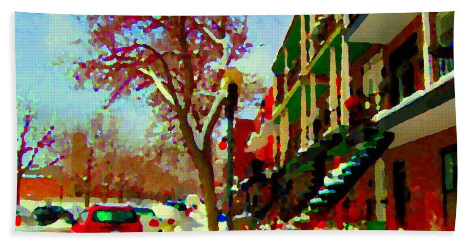 Hand Towel featuring the painting Splendor And Colors Of Quebec Winters Verdun Montreal Urban Street Scene Carole Spandau by Carole Spandau
