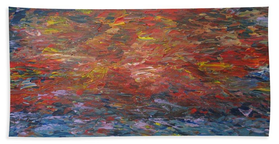 Abstract Bath Sheet featuring the painting Splendor by Soraya Silvestri
